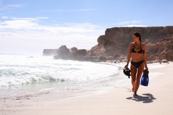 Secluded beach strutting